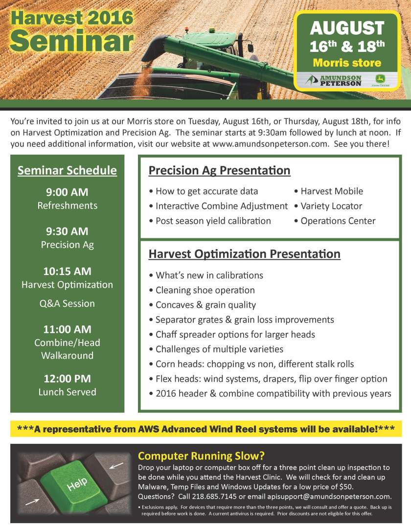 Harvest 2016 Seminar page